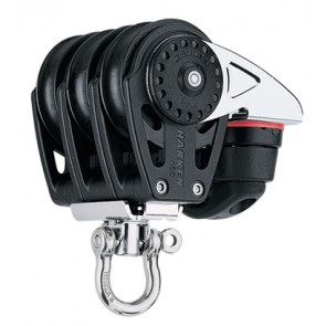 Polea Harken triple giratoria 40 mm con mordaza 471 Carbo-Cam